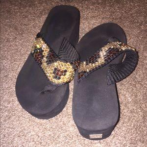 Shoes - Swarovski crystal platform sandals leopard
